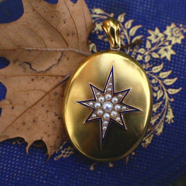 Antique Locket - 1878 Victorian 'North Star' 15k Gold Locket, Natural Pearls Blue Enamel, Antique Jewelry Victorian Jewelry Victorian