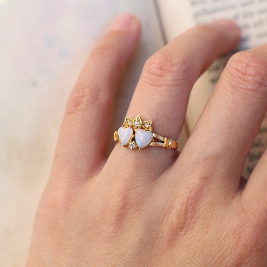 Antique Ring - Victorian Double Heart Ring with Bow, Opals Old Mine Cut Diamonds 18k Gold, Antique Opal Ring Victorian Ring Antique