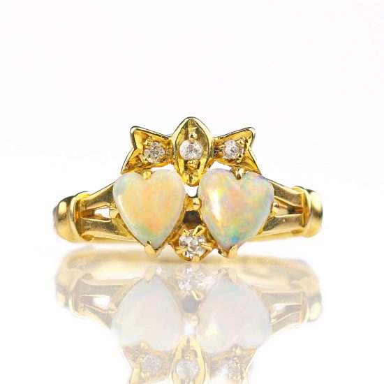 Victorian Double Heart Opal Ring with Bow