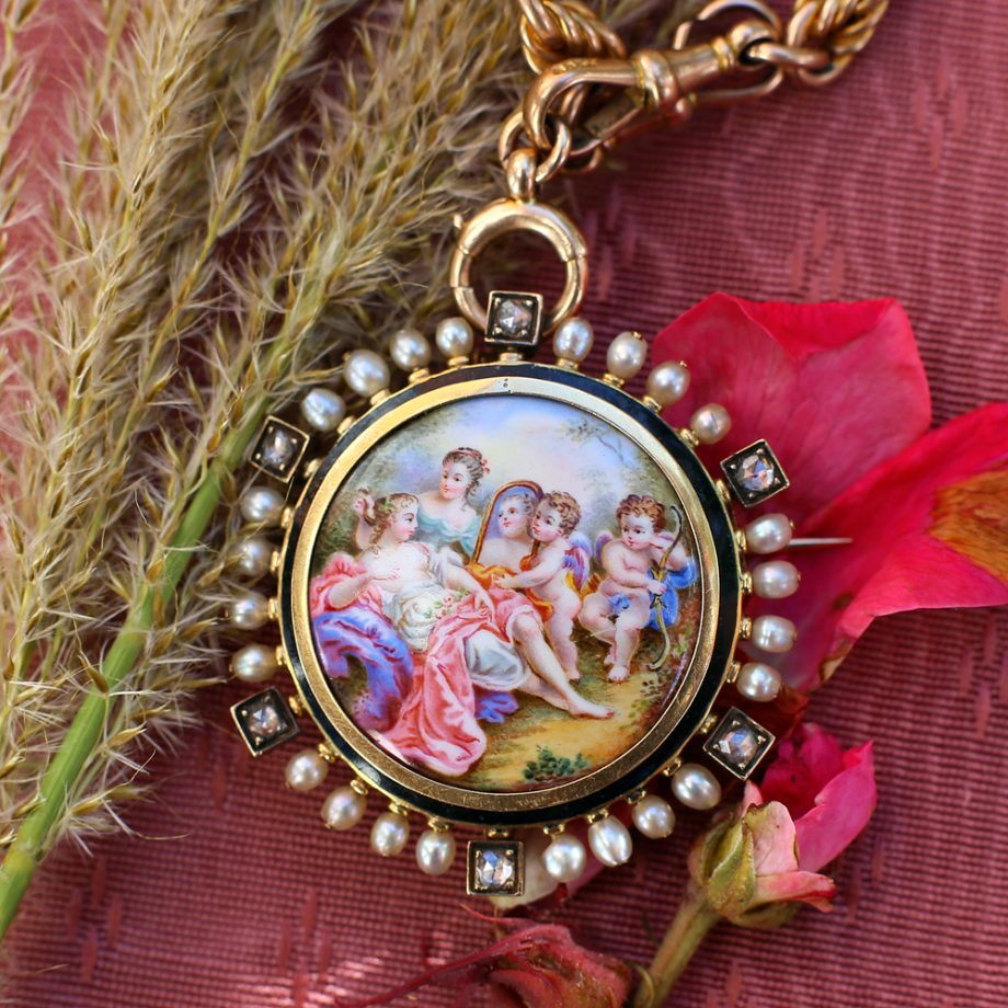 Antique Jewelry - 1860s French Enameled Brooch Locket 14k Gold Pearls Rose Cut Diamonds, Antique Pendant Antique Locket Victorian