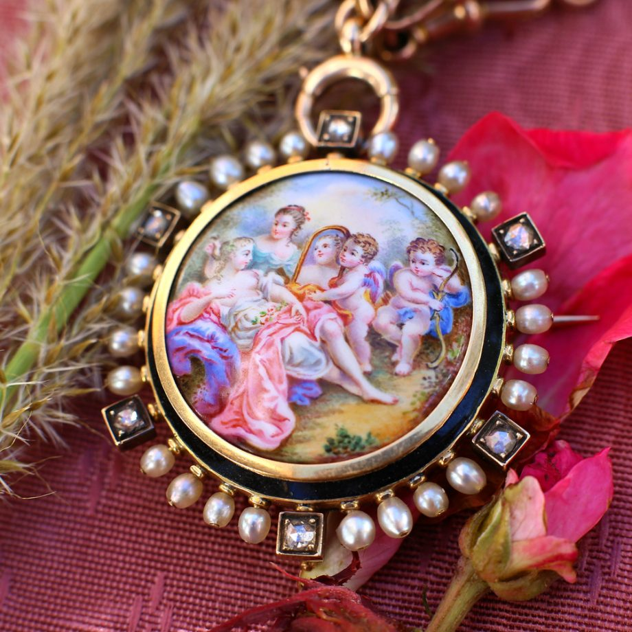 1860s French Enameled Venus Brooch Locket