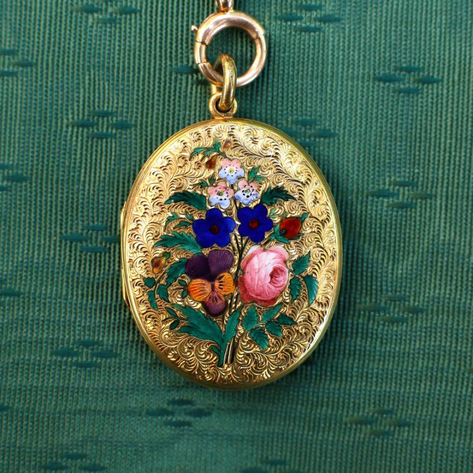 1871 Victorian Gold Locket Enameled Flowers