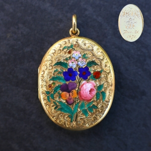 1871 Victorian Gold Locket Enameled Flowers