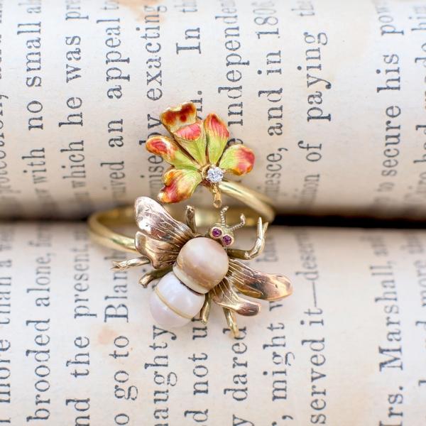 c.1900 Art Nouveau Bee & Orchid Flower Stickpin Conversion Ring