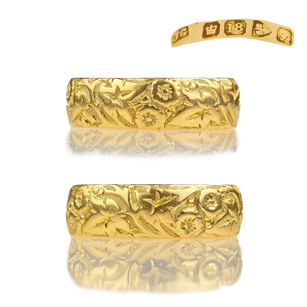 Ivy Scroll Bands: Victorian 18k Gold Chased Floral Band