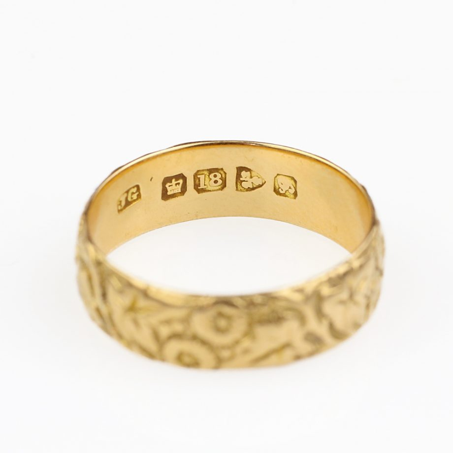 Victorian 18k Gold Chased Floral Band