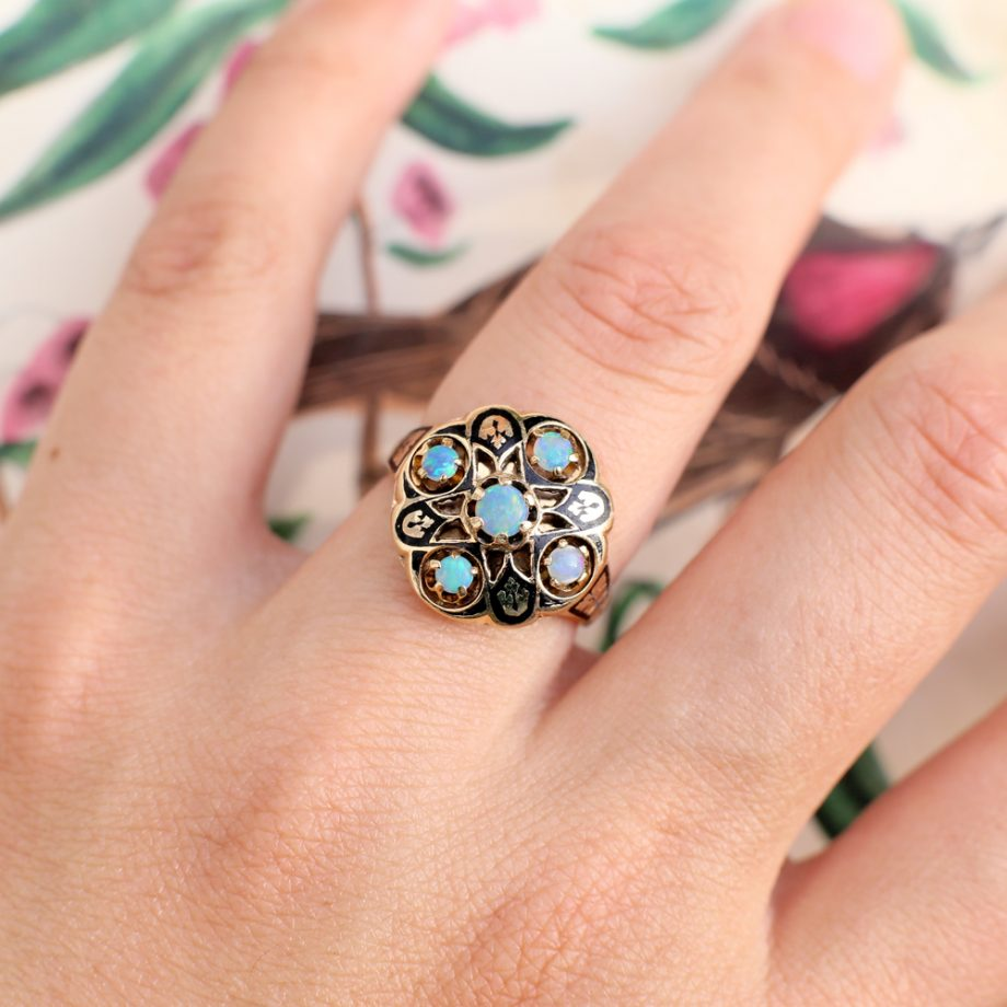 Art Deco Moorish Revival Opal Ring