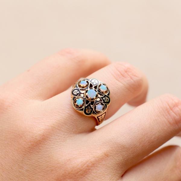 Art Deco Moorish Revival Opal Ring
