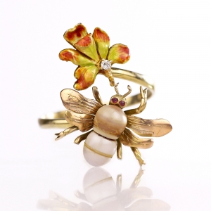 c.1900 Art Nouveau Bee & Orchid Flower Stickpin Conversion Ring