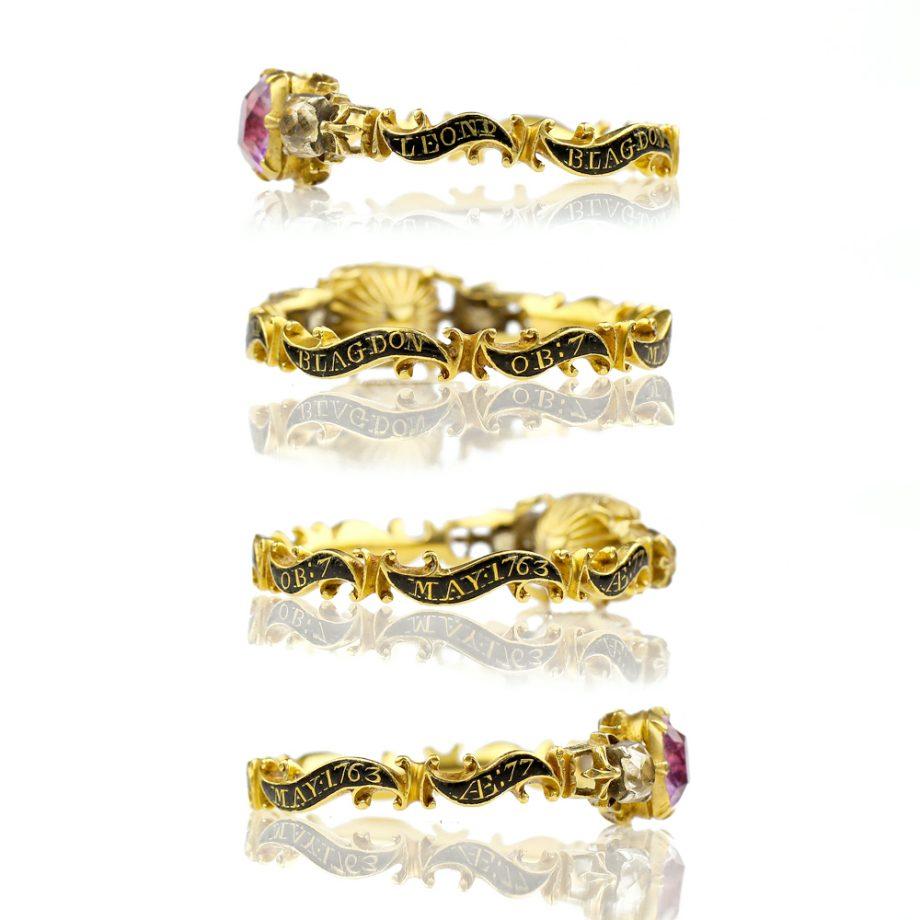 18th century Georgian Mourning Ring Foiled Amethyst Quartz 18k Gold Rococo Band