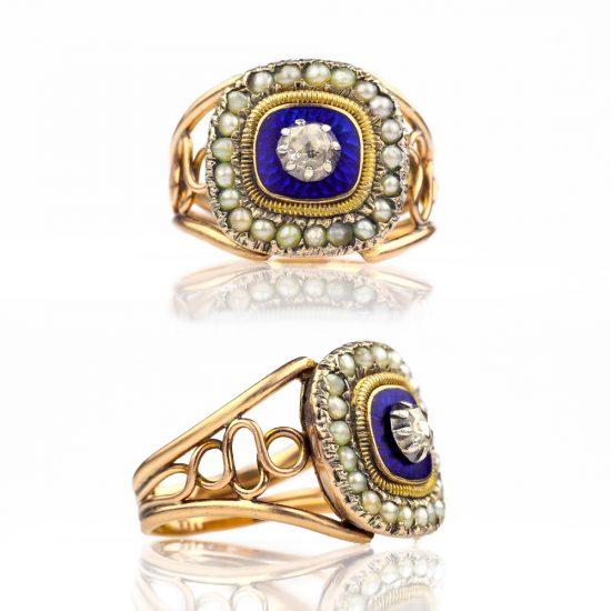 Georgian Ring - 1810s Blue Enamel Pearl Rose Cut Diamond Antique Ring, Antique Jewelry Georgian Jewelry Antique Diamond Ring