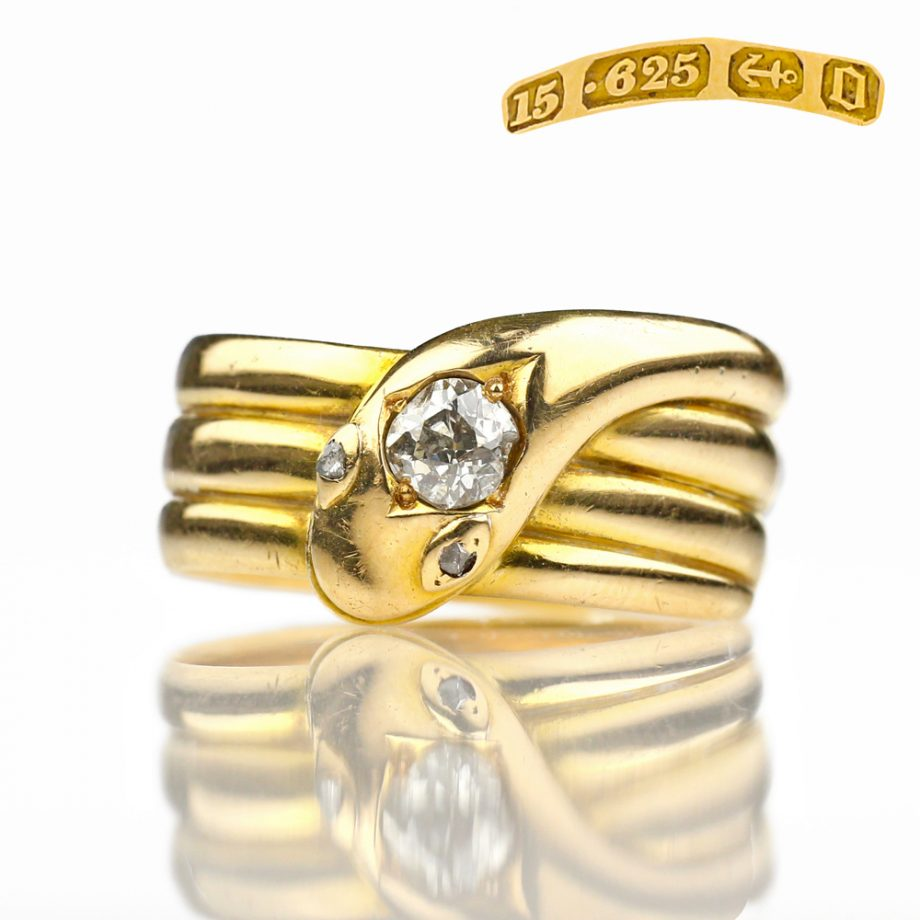 Victorian Snake Ring - 1888 Antique Snake Ring 15k Gold Old Mine Cut Diamond, Antique Ring Antique Jewelry Victorian Ring Mens Ring