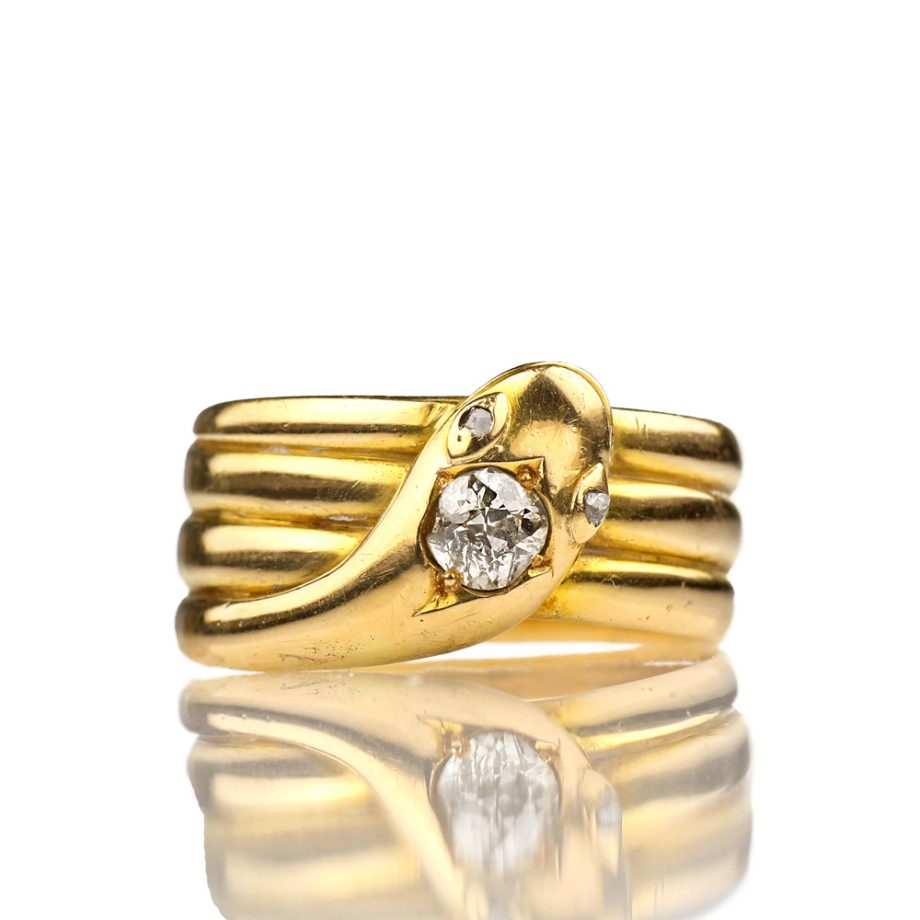 1888 Victorian Snake Ring with Diamond
