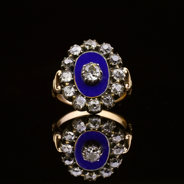 Georgian Blue Enamel Old Cut Diamond Cluster Ring