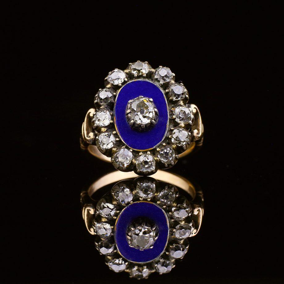Georgian Blue Enamel Old Cut Diamond Cluster Ring