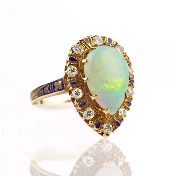 1930s Pear-cut Opal Ring with Enameled Diamond Halo