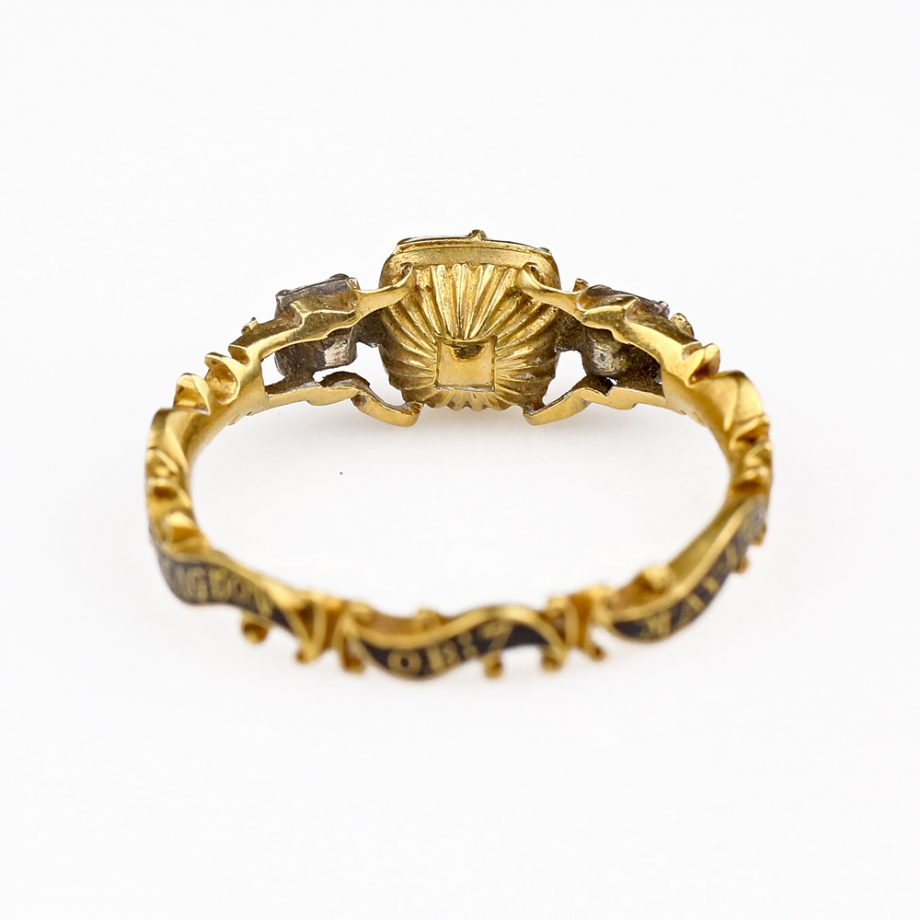 18th century Georgian Mourning Ring Foiled Amethyst Quartz 18k Gold Rococo Ribbon Band