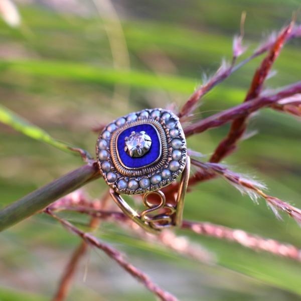 Georgian Blue Enamel Pearl Diamond Ring