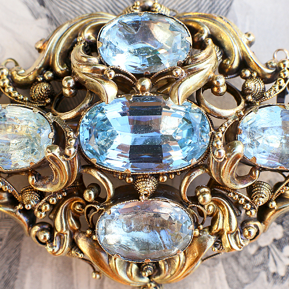 Georgian Aquamarine Cannetille Brooch