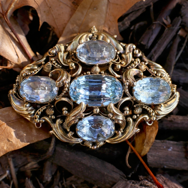 1830s Georgian 15k Cannetille Foiled Aquamarine Brooch