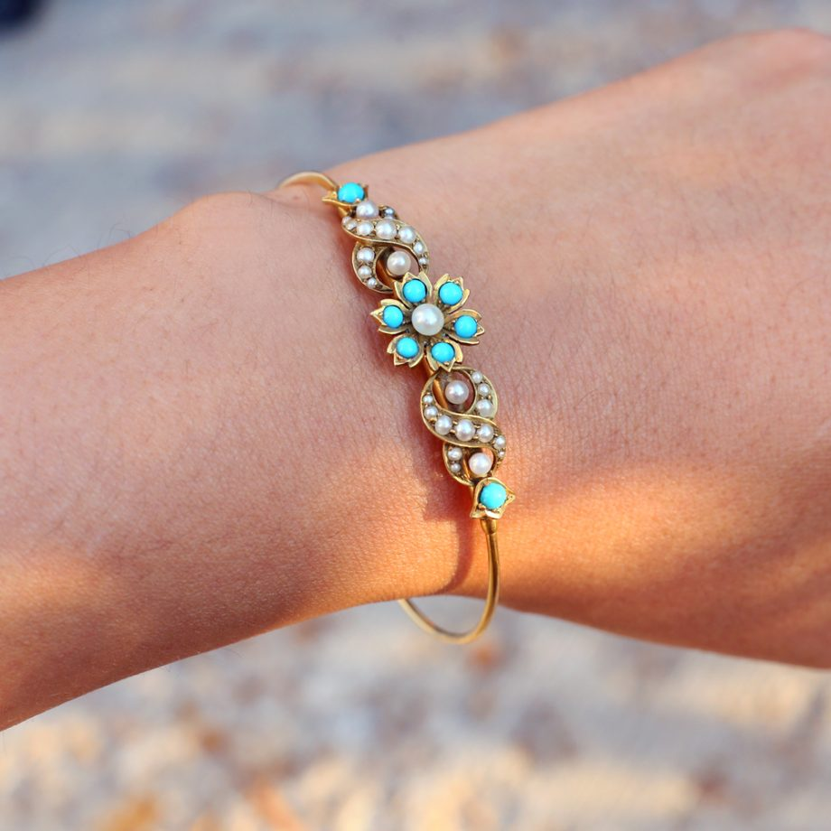 14k Victorian Turquoise Pearl Floral Bracelet