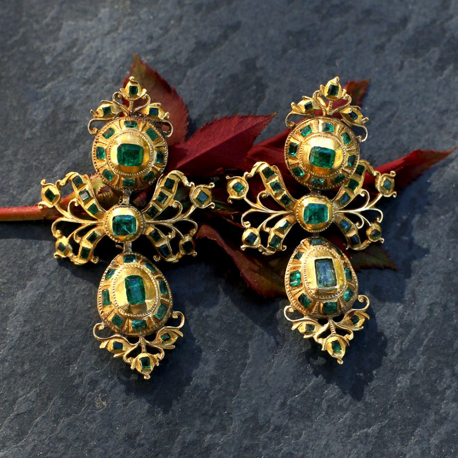 18th c Iberian Emerald 'Lazlo' Pendeloque Earrings, c. 1760-80s Spain, 18k yellow gold