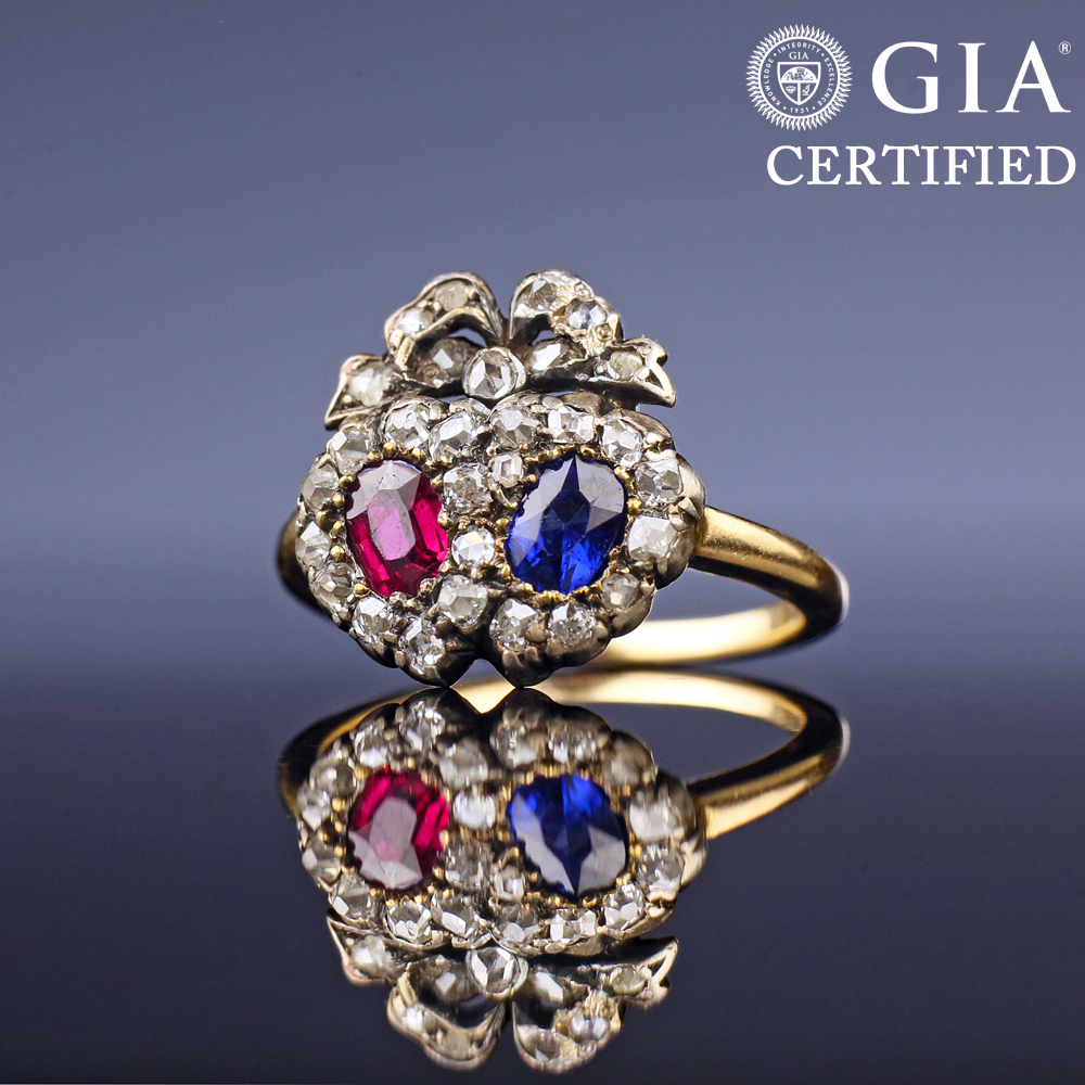 Victorian Sapphire Ruby Double Heart Ring