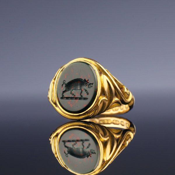 Victorian Bloodstone Intaglio Ring