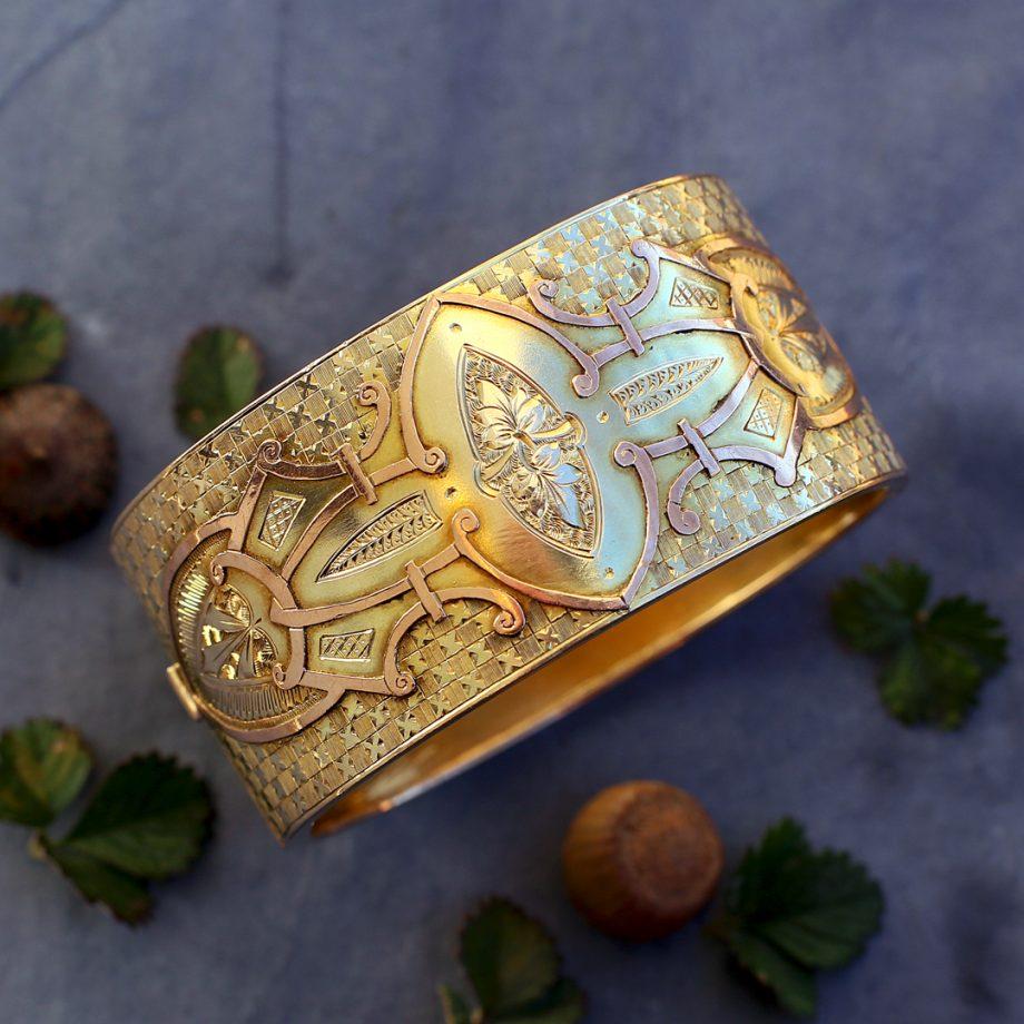 Victorian Aesthetic Movement Gold Bangle