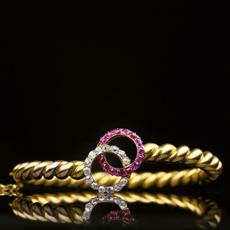Belle Epoque Ruby Diamond Twist Bangle