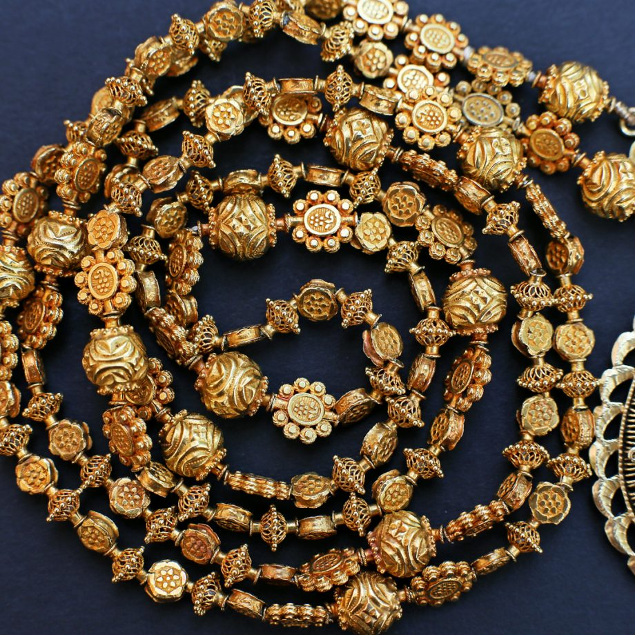 Mid 18th - 19th c Spanish Colonial Philippines Gold Tamborin Necklace with Reliquary