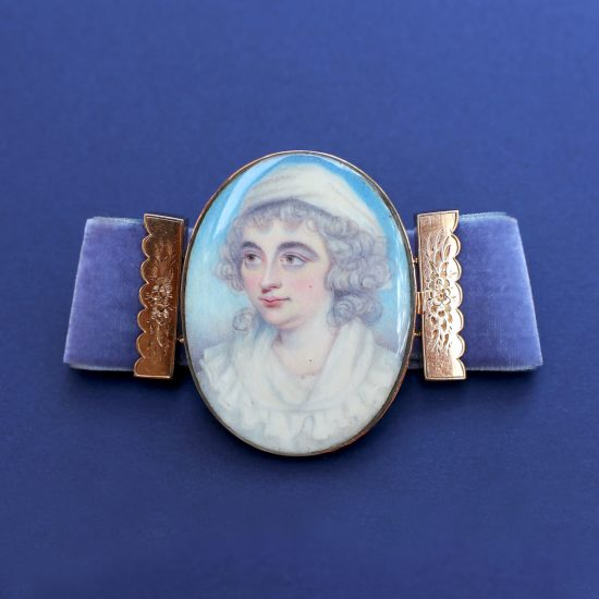 c. 1790s Georgian Bracelet with Portrait Miniature of a Lady in White Muslin