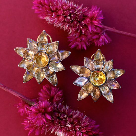 18th century Portuguese Topaz Floral Earrings