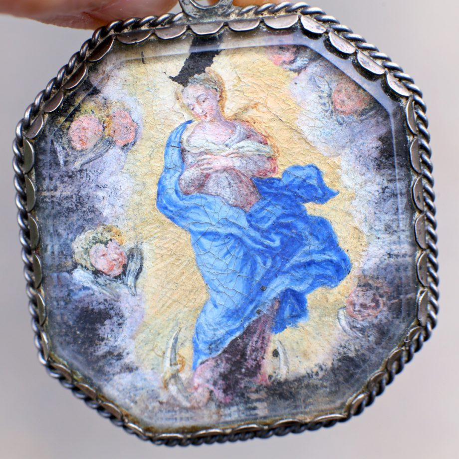 17th - 18thc Spanish Devotional Pendant Christ Child Salvator Mundi & Our Lady Immaculate Conception