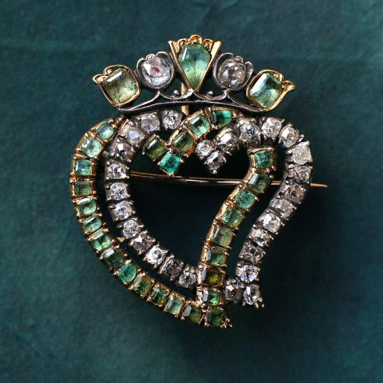 c. 1860-80s Victorian Crowned Double Heart Diamond & Emerald Brooch Pendant Lukenbooth