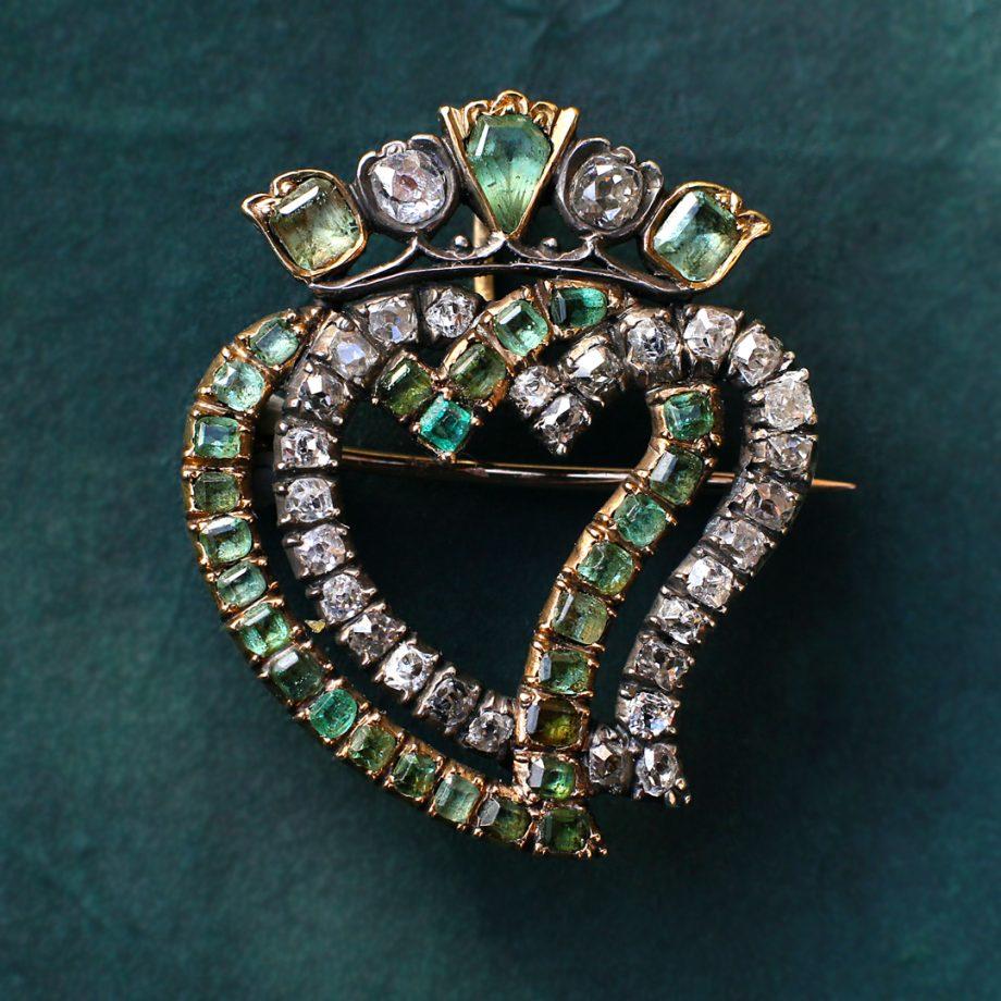 c. 1860-80s Victorian Crowned Double Heart Diamond & Emerald Brooch Pendant Lukenbooth
