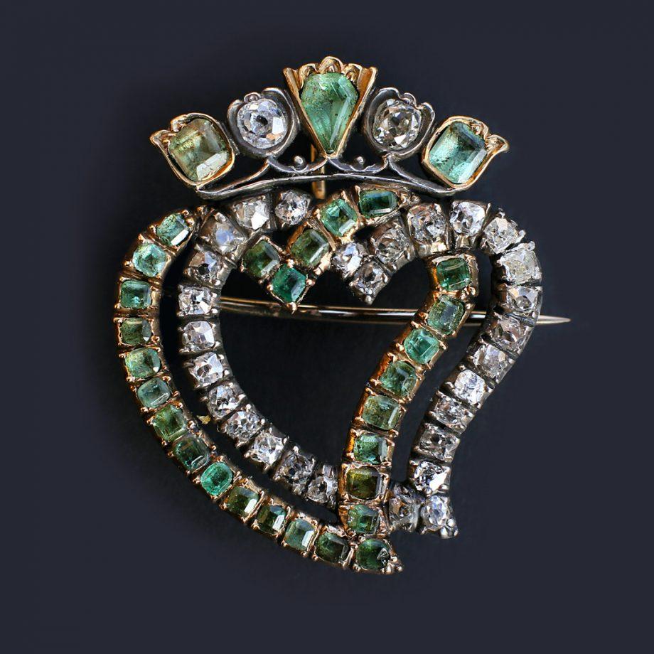 Victorian Double Heart Lukenbooth Brooch