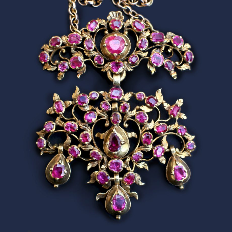 18th c French Rococo Ruby Pendant