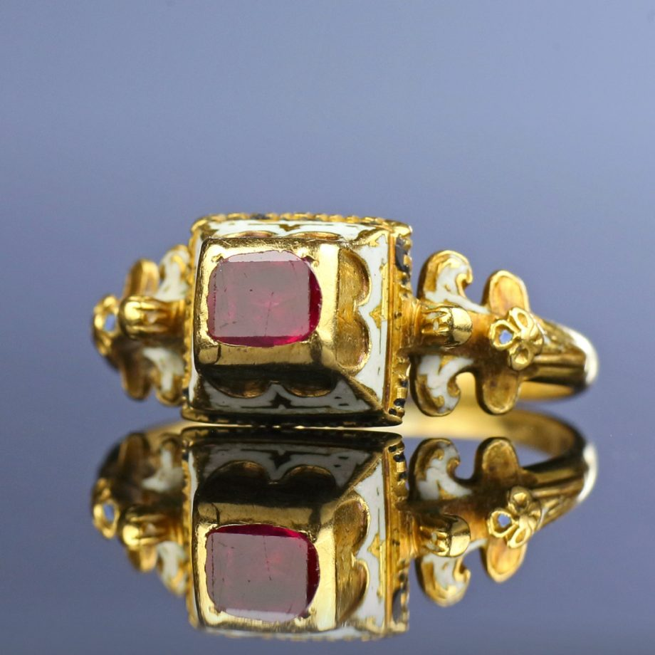 Renaissance Ring with Table Cut Ruby