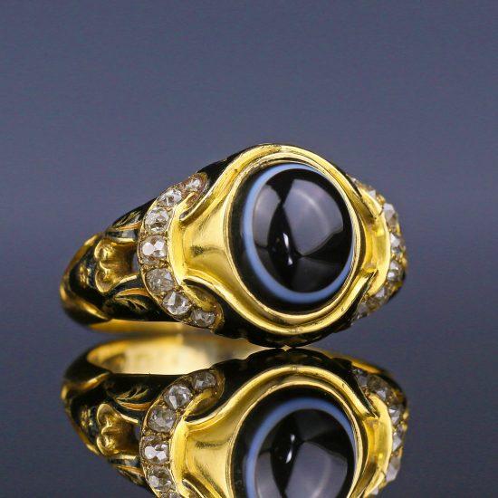Victorian Mourning Ring Bullseye Agate Black Enamel Diamond