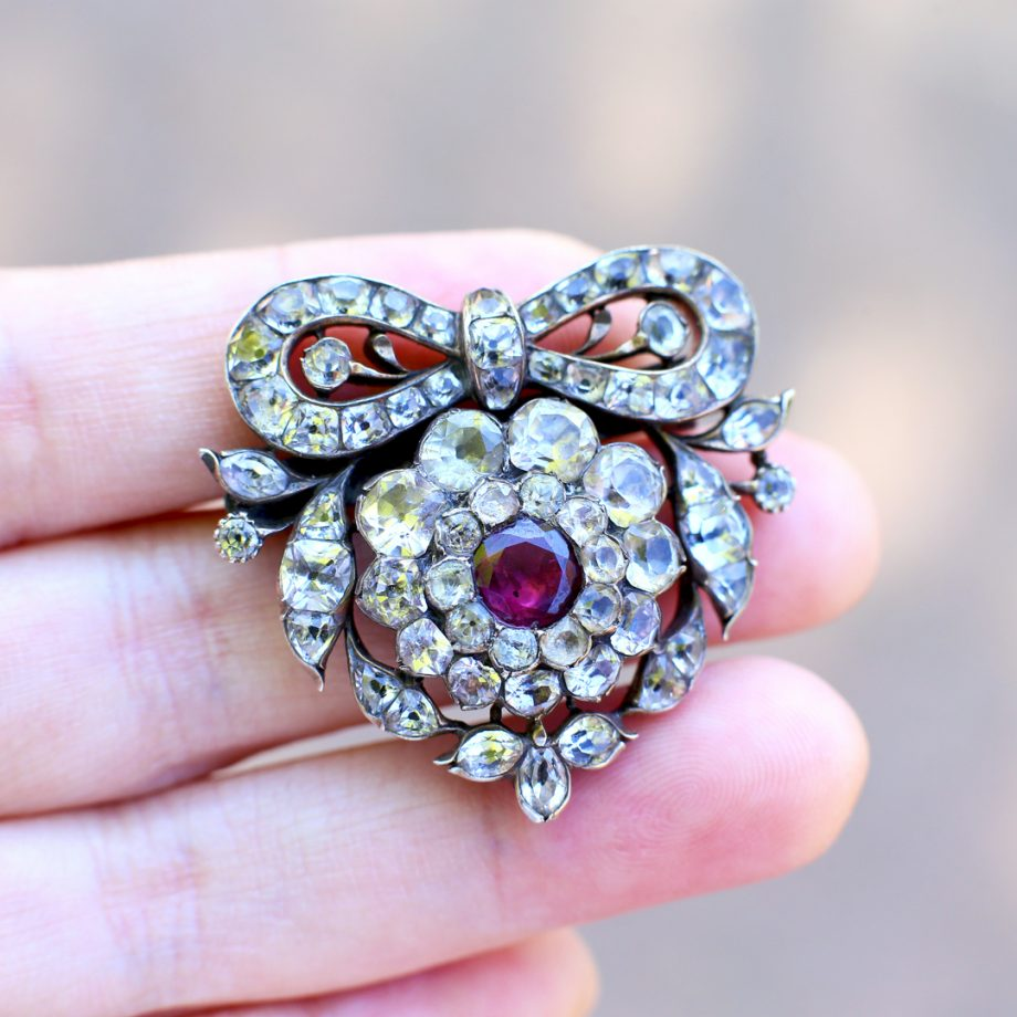 Late 18th c Portuguese Minas Novas Heart Brooch