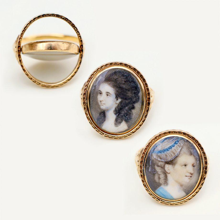 c. 1760-80 Rococo Double Portrait Miniature Flip Ring, 18th century German / Austrian