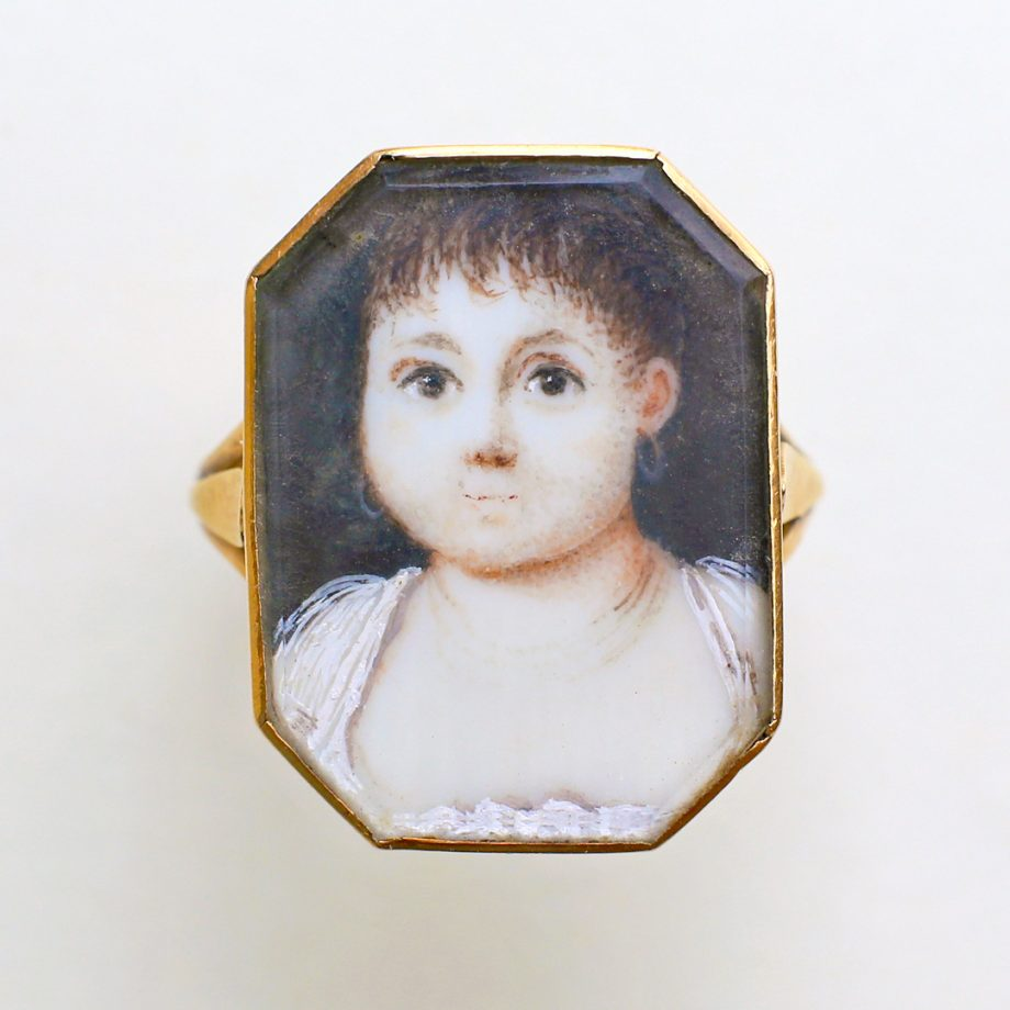c. 1790-1800 French Neoclassical Portrait Miniature Ring of a Girl Child, Georgian Portrait Ring