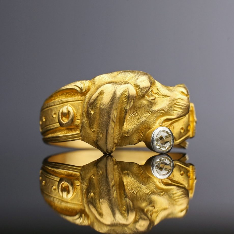 c. 1880-1900 Chased Gold Dog Ring with Old Mine Cut Diamond 18k Late Victorian Edwardian