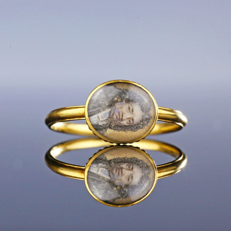 c. 1720-40 English Political Ring with Portrait Miniature of Jonathan Trelawny, Bishop of Bristol