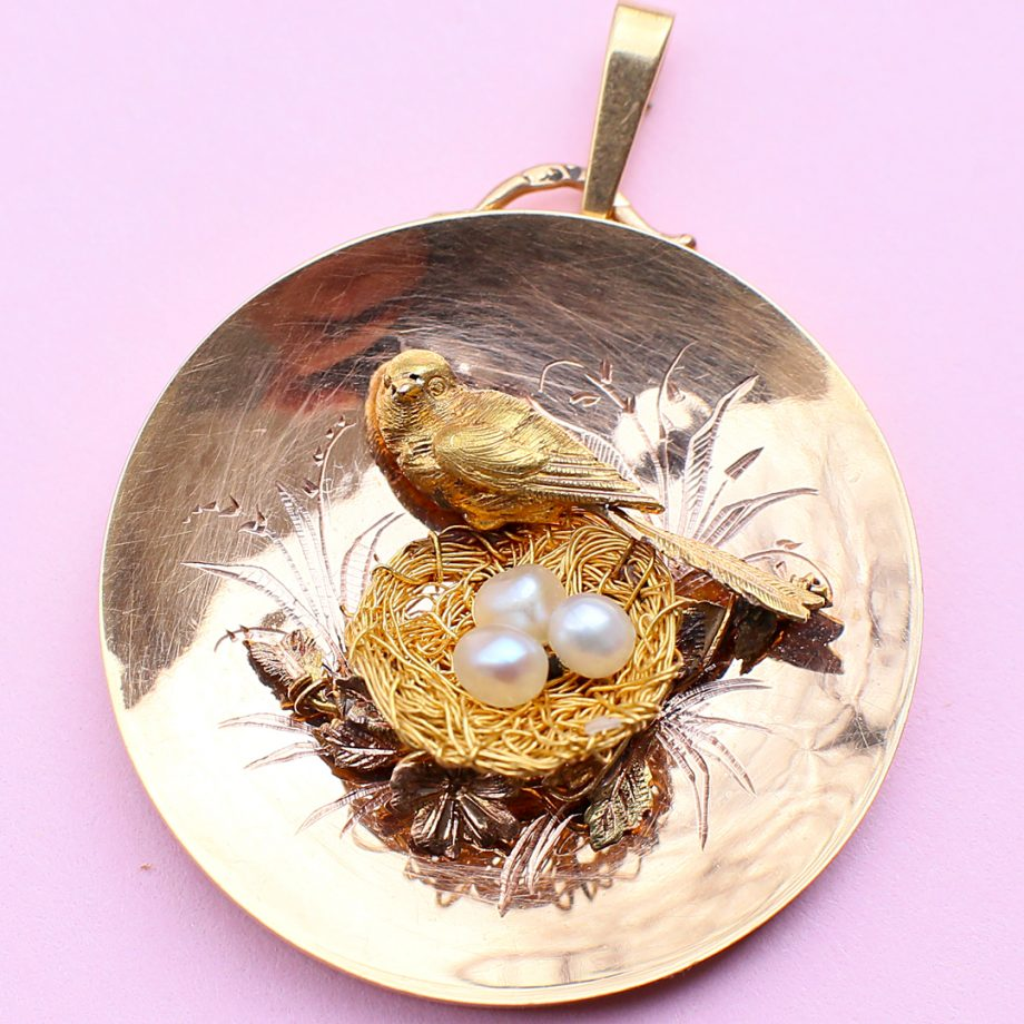Napoleon III French Gold Pendant of Bird and Nest of Pearl Eggs