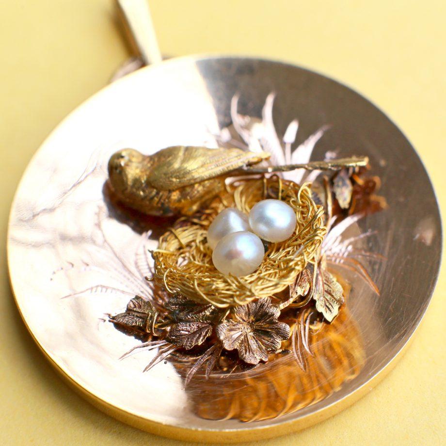 c. 1850 Napoleon III Gold Bird Nest Pendant