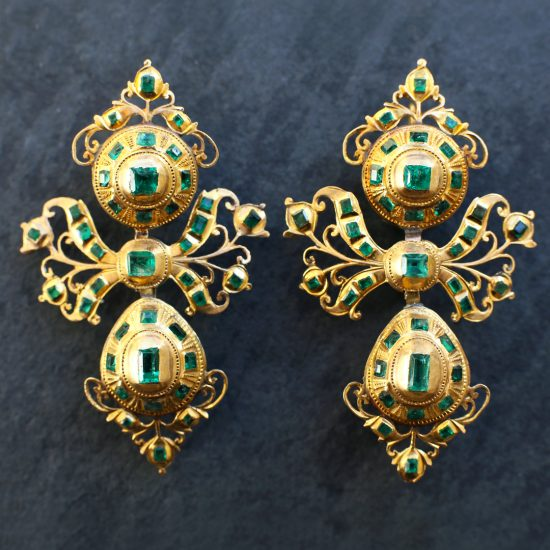 18th c Iberian Spanish Emerald Pendeloque Earrings