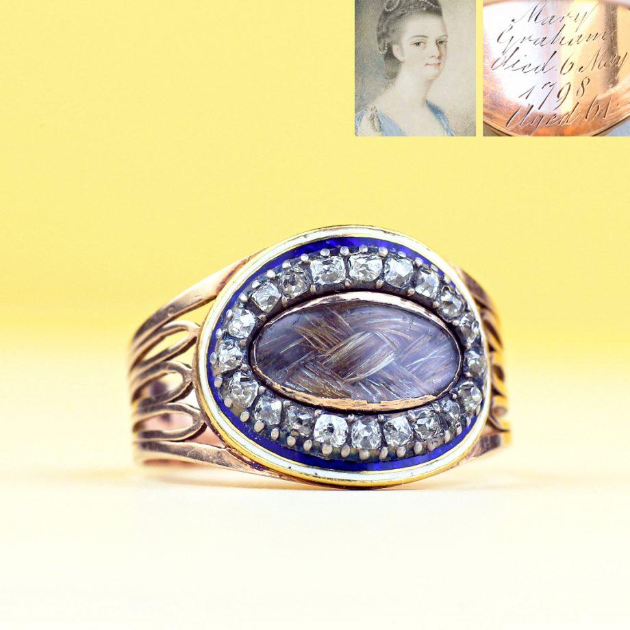 1798 Georgian Mourning for Mary Graham, Diamonds White & Blue Guilloche Enamel