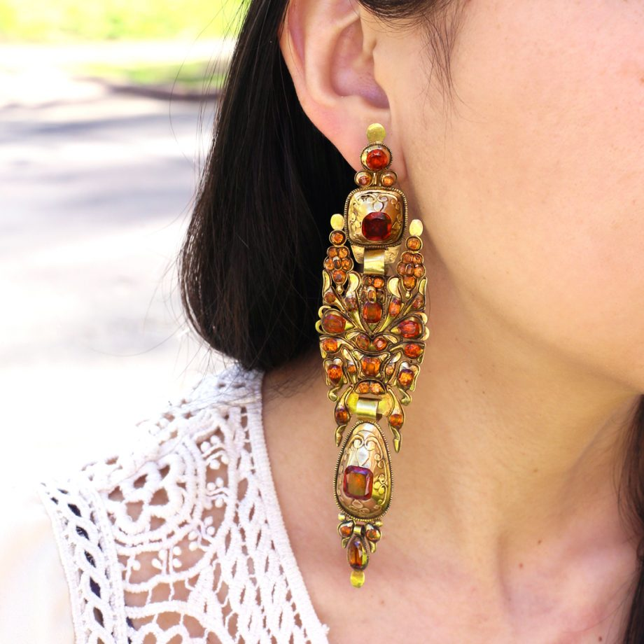 c. 1790 - 1830 Iberian Catalan Hessonite Garnet Earrings